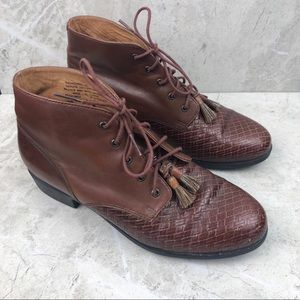 Ariat brown lace-up booties